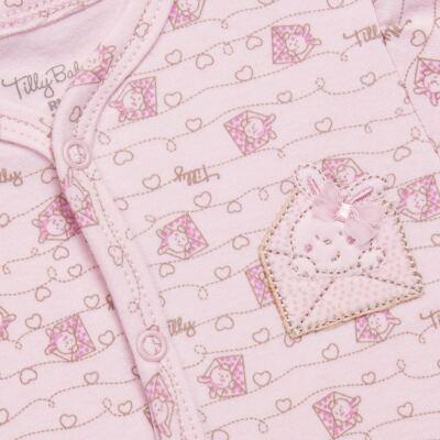 Imagem 2 do produto Macacão longo para bebe em algodão egípcio Coelhinha - Tilly Baby - TB168100 MACACAO ML FEMININO SUEDINE CORRIDO CARTINHAS-RN