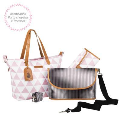 Imagem 3 do produto Mala maternidade com Rodízio + Bolsa Sofia 4 em 1 + Frasqueira térmica Vicky + Mochila Noah + Necessaire para bebe Manhattan Rosa - Masterbag