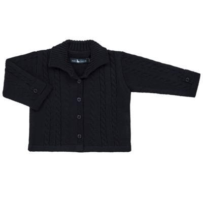 Imagem 1 do produto Casaquinho para bebe em tricot trançado Marinho - Mini Sailor - 75464262 CASAQUINHO C/GOLA TRANÇADO TRICOT MARINHO-NB