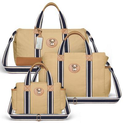 Imagem 1 do produto Bolsa Passeio para bebe + Bolsa Albany + Frasqueira Térmica Gold Coast em sarja Adventure Caramelo - Classic for Baby Bags
