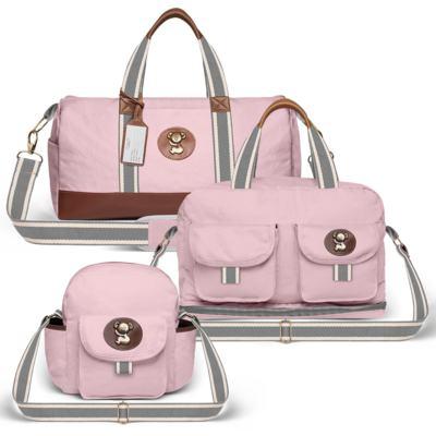 Imagem 1 do produto Bolsa Passeio para bebe + Bolsa Ibiza + Frasqueira Térmica Toulon em sarja Adventure Rosa - Classic for Baby Bags