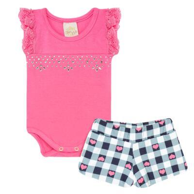 Imagem 1 do produto Body regata com shorts balonê para bebe Bubblegum - Time Kids - TK5054.PK CONJUNTO BODY E SHORTS XADREZ PINK-P