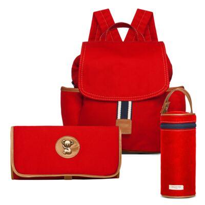 Imagem 1 do produto Mochila maternidade + Trocador + Porta mamadeira Adventure em sarja Vermelha - Classic for Baby Bags