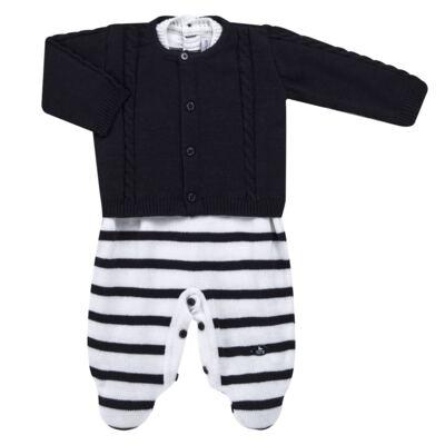 Imagem 1 do produto Macacão Pulôver c/ Casaquinho  para bebe em tricot Navy - Mini Sailor - 17994262 CASACO C/ JARDINEIRA TRICOT MARINHO -9-12