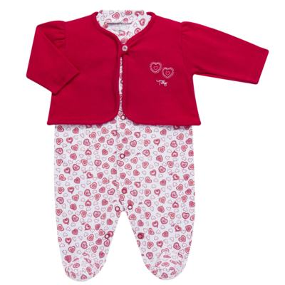 Imagem 1 do produto Macacão longo com Casaco em algodão egípcio Little Hearts - Tilly Baby - TB168162 MACACAO C/ CASACO FEM SUEDINE CORAÇÕES-P