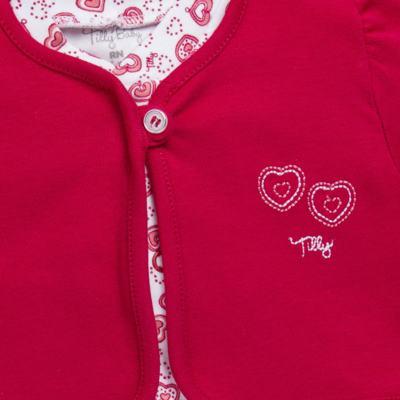 Imagem 2 do produto Macacão longo com Casaco em algodão egípcio Little Hearts - Tilly Baby - TB168162 MACACAO C/ CASACO FEM SUEDINE CORAÇÕES-P