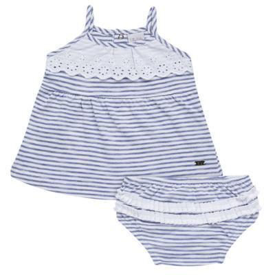 Imagem 1 do produto Vestido com Calcinha para bebe em malha Navy - Tilly Baby - TB168201 CONJ FEMININO VESTIDO C/ CALCINHA LISTRADO-1