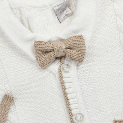 Imagem 2 do produto Macacão longo c/ Colete & Gravata para bebe em tricot Benjamim - Mini & Classic - 3069659 MACACAO FALSO COLETE TRICOT BRANCO-P