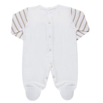 Imagem 3 do produto Macacão longo para bebe em tricot Nature Little Friends - Mini & Classic - 3071650 MACACAO TRICO BORDADO NATURE-P