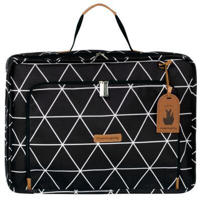 Imagem 2 do produto Mala maternidade Vintage + Bolsa 4 em 1 Sofia + Frasqueira térmica Vicky + Mochila Noah + Necessaire Manhattan Preta - Masterbag