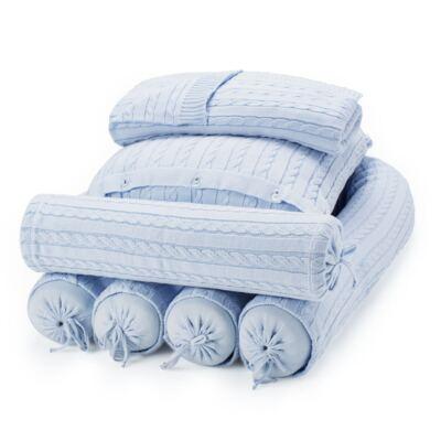 Imagem 1 do produto Kit Berço: Rolinhos Laterais + Rolinho Cabeceira + Almofada Quadrada + Manta em tricot trançado Mon Petit - Petit