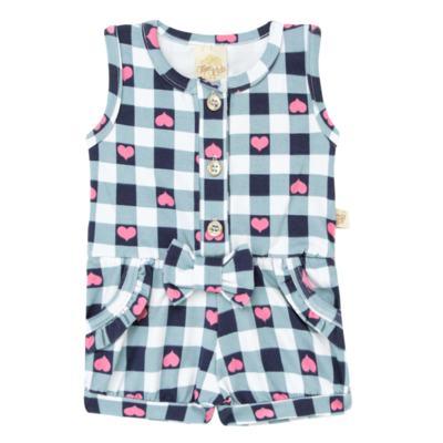Imagem 1 do produto Macaquinho regata para bebe em cotton Bubblegum - Time Kids - TK5057.AZ MACAQUINHO XADREZ AZUL-G