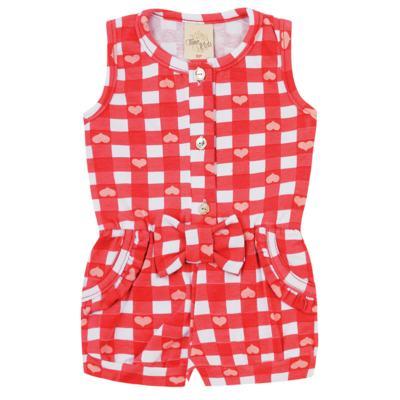 Imagem 1 do produto Macaquinho regata para bebe em cotton Cherry - Time Kids - TK5057.VR MACAQUINHO XADREZ VERMELHO-P