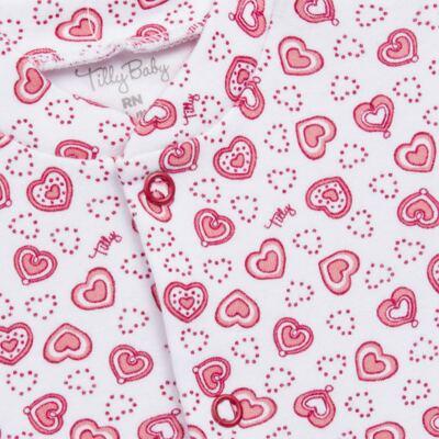 Imagem 4 do produto Macacão longo com Casaco em algodão egípcio Little Hearts - Tilly Baby - TB168162 MACACAO C/ CASACO FEM SUEDINE CORAÇÕES-RN