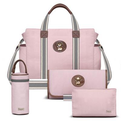 Imagem 1 do produto Bolsa maternidade para bebe + Trocador portátil + Porta mamadeira + Necessaire Albany Adventure em sarja Rosa - Classic for Baby Bags