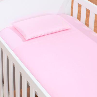 Imagem 1 do produto Jogo de lençol para berço em malha Rosa - Biramar Baby