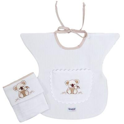 Imagem 1 do produto Babador com fraldinha de boca para bebe Savannah - Biramar Baby - 33639-2364 Kit Papinha - Savanah Xadrez Nude