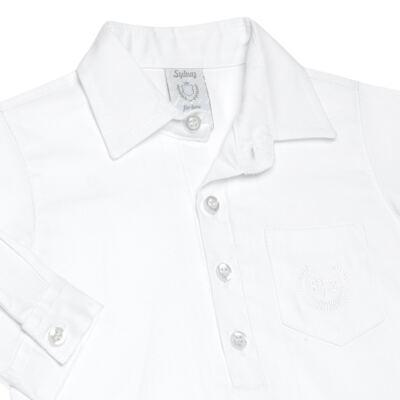 Imagem 2 do produto Body Camisa para bebe em fustão Branco - Sylvaz - SZ369 BODY CAMISA ML BATIZADO BRANCO-M