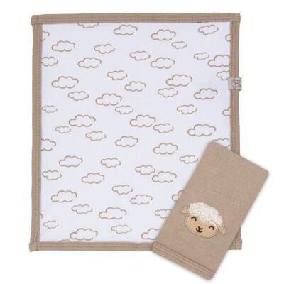 Imagem 2 do produto Kit com 2 fraldinhas de boca em malha para bebe Ovelhinha - Píngo Lelê - PL65726 KIT 2 CHEIRINHOS OVELINHA