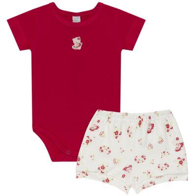 Imagem 1 do produto Body curto com Shorts para bebe em suedine Flowery Bear - Vicky Lipe - CSH1360 BODY M/C C/ SHORTS SUEDINE URSA FLORAL-P