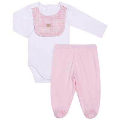 Imagem 1 do produto Body c/ Babador e Mijão para bebe em suedine Le Petit Rosa - Baby Classic - 18010001.01 CONJUNTO BODY C/ BABADOR E MIJÃO-SUEDINE-P