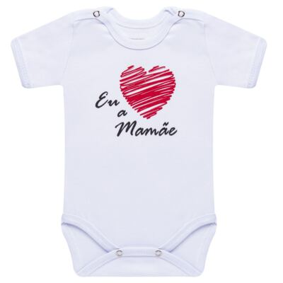 Imagem 1 do produto Body curto para bebe em suedine Eu <3 a Mamãe - Primeiras Palavras - PP1031 BODY EU AMO A MAMAE MANGA CURTA-P