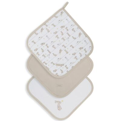 Imagem 1 do produto Kit com 3 fraldinhas de boca para bebe em suedine Coelhinhos - Dedeka - DDK18004/E206 KIT 3 PANINHOS DE BOCA SUEDINE COELHINHOS
