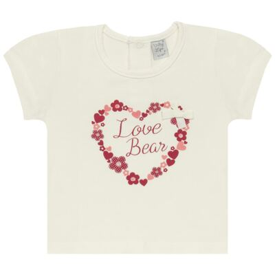 Imagem 1 do produto Blusinha para bebe em cotton Flowery Bear - Vicky Lipe - 1371360 BLUSINHA MC COTTON URSA FLORAL-1