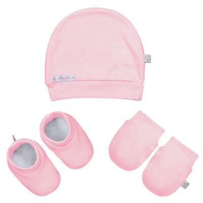 Imagem 1 do produto Kit c/ Touca, Luva e Sapatinho para bebe em malha Rosa - Beth Bebê - BB0177-E Kit Sapatinho, Touca e Luva Rosa
