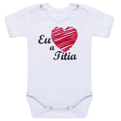 Imagem 1 do produto Body curto para bebe em suedine Eu <3 a Titia - Primeiras Palavras - PP1008 BODY EU AMO A TITIA MANGA CURTA-M