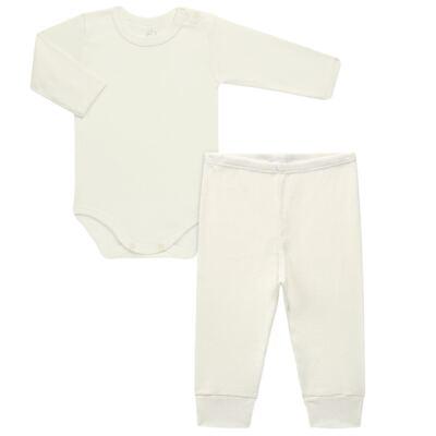 Imagem 1 do produto Body longo c/ Calça para bebe em algodão canelado Marfim - Dedeka - DDK0880/14 Conjunto Body Canelado Marfim-RN