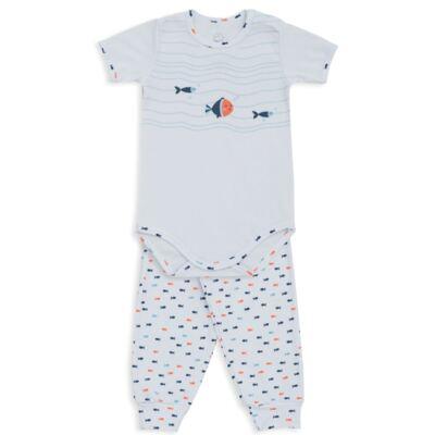 Imagem 1 do produto Body curto c/ Calça para bebe em suedine Peixinhos - Dedeka - DDK18102/E209 CONJUNTO DE BODY CURTO/CALÇA PEIXINHOS-RN