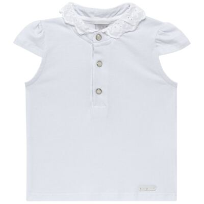 Imagem 1 do produto Blusinha para bebe em cotton Branca - Baby Classic - 21751445 BLUSINHA M/C GOLA COTTON CLÁSSICO-M