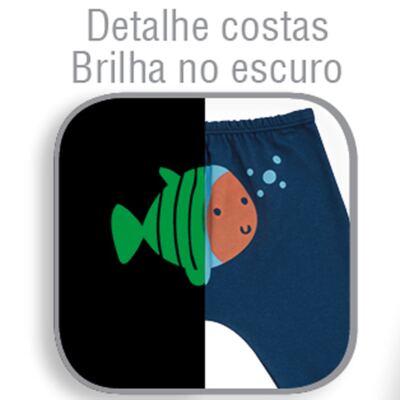 Imagem 3 do produto Body longo c/ Calça para bebe em suedine Little Fish - Dedeka - DDK18103/L44 CONJUNTO DE BODY SUEDINE AZUL -P