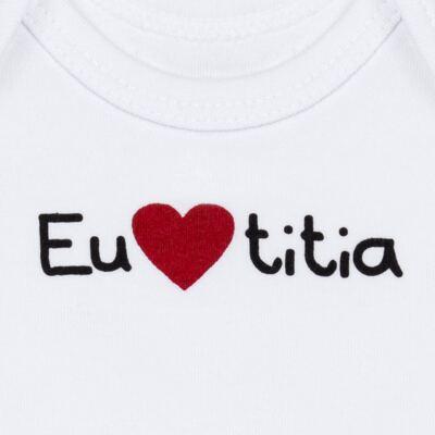Imagem 2 do produto Body longo para bebe em algodão egípcio Eu amo Titia - Bibe - 10A53-01 BD UNIS ML CRISTAL BRANCO TITIA-M