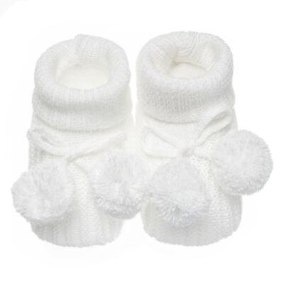 Imagem 1 do produto Botinha pompom em tricot Branca - Roana