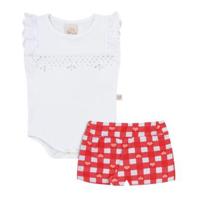 Imagem 1 do produto Body regata com shorts balonê para bebe Cherry - Time Kids - TK5054.BC CONJUNTO BODY E SHORTS XADREZ BRANCO-P