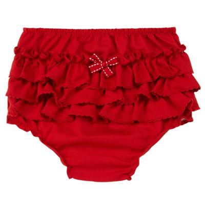 Imagem 1 do produto Calcinha Babadinhos para bebe em fustão Vermelha - Mini Sailor - 56024443 CALCINHA C/BABADO TRICOLINE VERMELHO-9-12