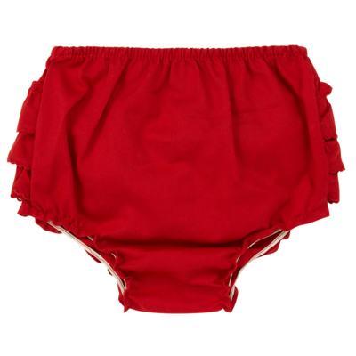 Imagem 2 do produto Calcinha Babadinhos para bebe em fustão Vermelha - Mini Sailor - 56024443 CALCINHA C/BABADO TRICOLINE VERMELHO-9-12