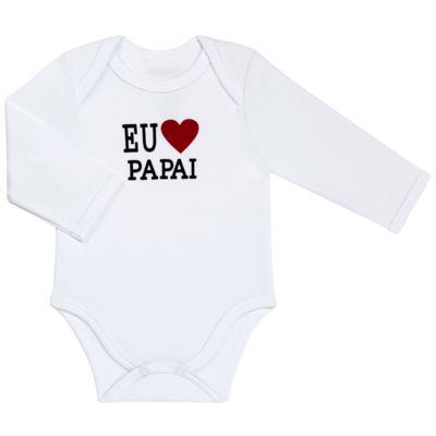 Imagem 1 do produto Body longo para bebe em algodão egípcio Eu amo Papai - Bibe - 10A45-01 BD UNIS ML CRISTAL BRANCO PAPAI-M