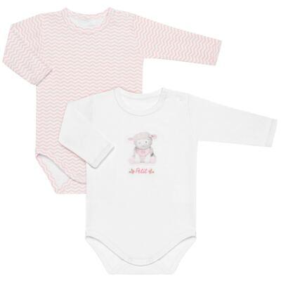 Imagem 1 do produto Pack 2 Bodies longos para bebe em suedine Ovelhinha Rosa - Petit - 10424344 PACK 2 BODIES M/L SUEDINE OVELHA FEM-P