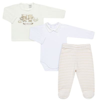 Conjunto Pagão Nature Little Friends : Casaco + Body longo + Calça (mijão) - Mini & Classic - 1987650 CONJ PAGAO MIJAO BODY TRIC/SUED NATURE-RN