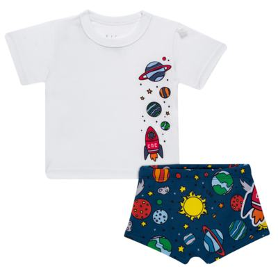 Imagem 1 do produto Conjunto de Banho para bebe Galaxy: Camiseta + Sunga - Cara de Criança - KIT 1 2578: SBB2578+CCAB2578 SUNGA E CAMISETA ESPACIAL-4