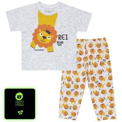 Imagem 1 do produto Pijama curto que Brilha no Escuro Lion - Cara de Criança - BC1943 REI LEÃO BC PJ - BB CURTA C/CALÇA M/MALHA-P