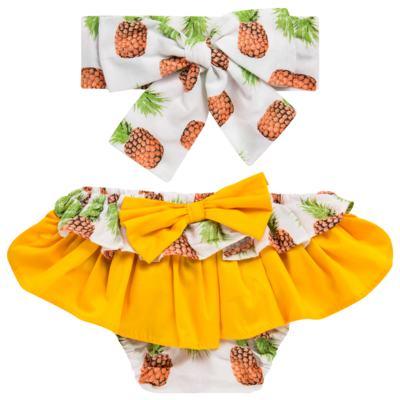 Imagem 1 do produto Conjunto de banho Pineapple: Bumbum + Faixa de Cabelo - Roana - BAST0904013 BANHO DE SOL TURBANTE 124 AMARELO-P