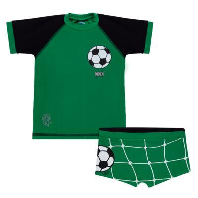 Imagem 1 do produto Conjunto de Banho Football: Camiseta surfista + Sunga - Cara de Criança - KIT 1 2529: SB2529+CSA2529 SUNGA E CAMISETA FUTEBOL-1