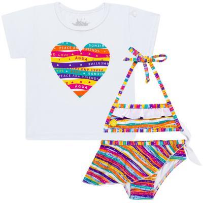 Imagem 1 do produto Conjunto de Banho Peace & Love: Camiseta + Biquíni - Cara de Criança - KIT 1 2586: B2586+CCA2586 BIQUINI E CAMISETA SUMMER-2