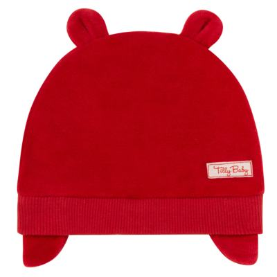 Imagem 1 do produto Touca Orelhinha para bebe em plush Vermelha - Tilly Baby - TB13173.04 GORRO BASICO DE PLUSH COM ORELHA VERMELHO-M