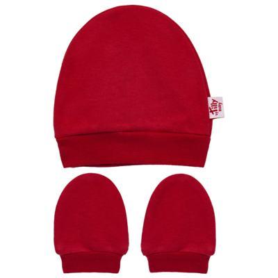 Imagem 1 do produto Kit Touca e Luva para bebe em suedine Vermelha - Tilly Baby - TB13114.04 GORRO E LUVA EM SUEDINE VERMELHO CEREJA-P