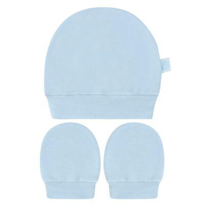 Imagem 1 do produto Kit Touca e Luva para bebe em suedine Azul - Tilly Baby - TB13114.09 GORRO R LUVA DE SUEDINE AZUL-P